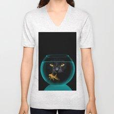 Black Cat Goldfish II Unisex V-Neck