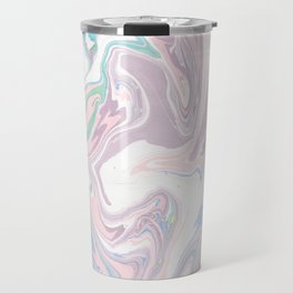 Abstract pastel pink purple teal watercolor marble Travel Mug