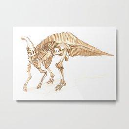 Parasaurolophus Skeleton Metal Print