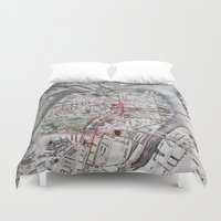 boston map Duvet Covers featuring Boston Old Map Photography by Eyne Photography