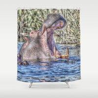 hippo Shower Curtains featuring Painted Hippo by MehrFarbeimLeben