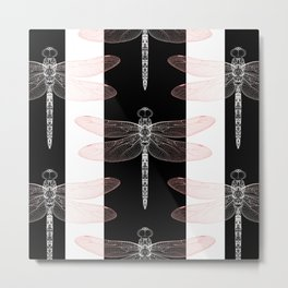Dragonfly Pattern | Peach | Blush Pink | Black and white stripes | insect Metal Print