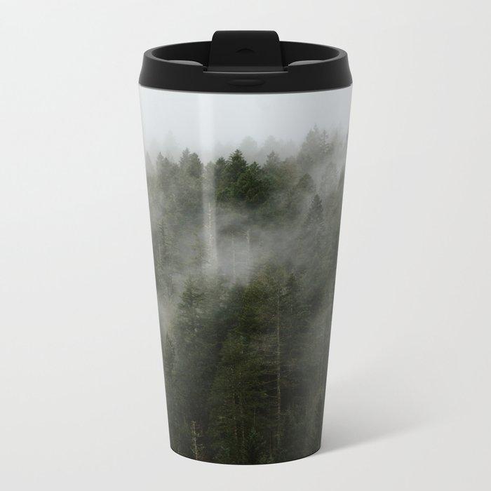 Pacific Northwest Foggy Forest Metal Travel Mug