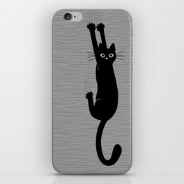 Black Cat Hanging On | Funny Cat iPhone Skin