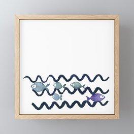 Against the Current - Maritime Simple Fish Design Framed Mini Art Print