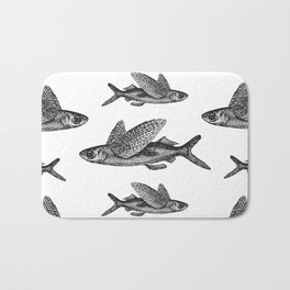 Flying Fish | Black and White Bath Mat