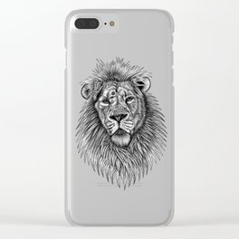 Asiatic lion - big cat - ink illustration Clear iPhone Case