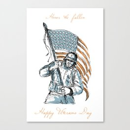 American Soldier Happy Veterans Day Greeting Card Canvas Print