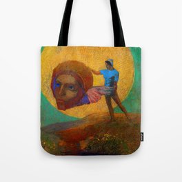"""Odilon Redon """"Figure Holding the Head of an Angel (also known as The Fall of Icarus)"""" Tote Bag"""