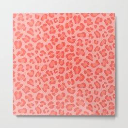 Leopard - Living Coral Metal Print