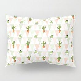 Modern pastel pink green triangles cute cactus pattern Pillow Sham