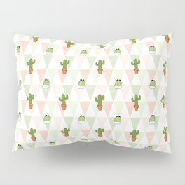 Modern pastel pink green triangles cute cactus pattern Pillow Sham