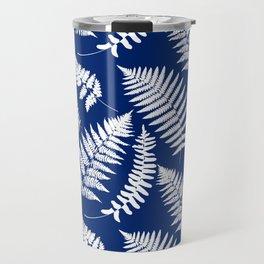 Woodland Fern Pattern, Cobalt Blue and White Travel Mug