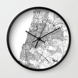 Tel Aviv-Yafo White Map Wall Clock