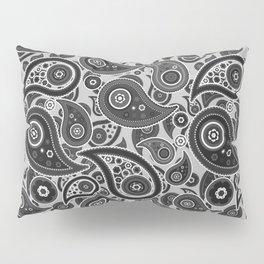 Silver Gray Paisley Pattern Pillow Sham