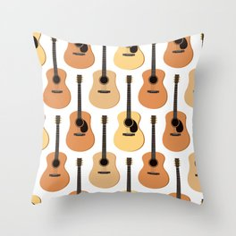 Acoustic Guitars Pattern Throw Pillow