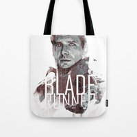 blade runner Tote Bags featuring Blade Runner by Duke Dastardly