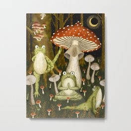 mushroom forest yoga Metal Print