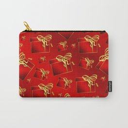 many small red gifts with golden bow on shiny dark red Carry-All Pouch