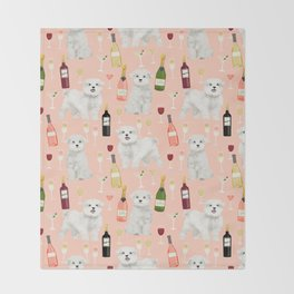Maltese dog breed wine champagne summer pattern dog gifts pet friendly dogs Throw Blanket