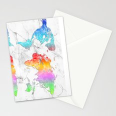 world map marble 2 Stationery Cards