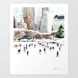 Central Park Ice Skating Art Watercolor Winter Wollman Rink NYC Skyline Art Print