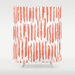 coral and white shower curtain. Vertical Dash Deep Coral on White Shower Curtain Curtains  Society6