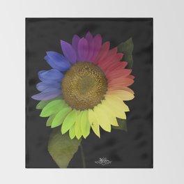 Rainbow Sunflower Scanography Throw Blanket