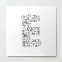 Floral Type - Letter E Metal Print