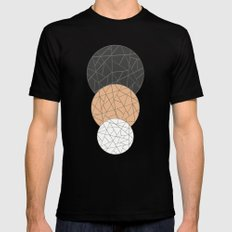 TRIAD ON BEIGE (abstract circles) Black Mens Fitted Tee MEDIUM
