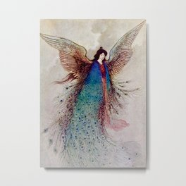 """Moon Maiden"" Fairy Art by Warwick Goble Metal Print"
