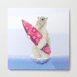 Polar bear & Surf (pink) Metal Print