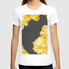 Yellow Flowers On A Dark Background #decor #society #homedecor T-shirt