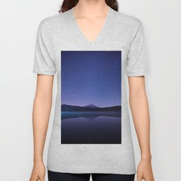 Purple Lilac Lullaby Japanese Mountains At Night Star Sky Relaxing Cozy Landscape Unisex V-Neck