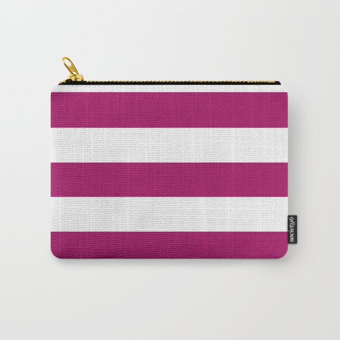 Jazzberry jam -  solid color - white stripes pattern Carry-All Pouch