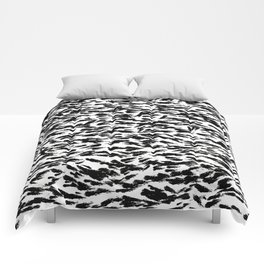 Black and White Ocean Current Abstract Pattern Comforters