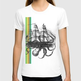 Kraken Attacking ship on Colorful Stripes T-shirt
