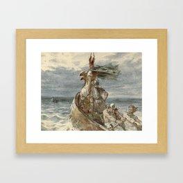 Vintage Raiding Vikings Painting (1873) Framed Art Print