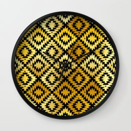 Turkish carpet gold black. Patchwork mosaic oriental kilim rug Wall Clock