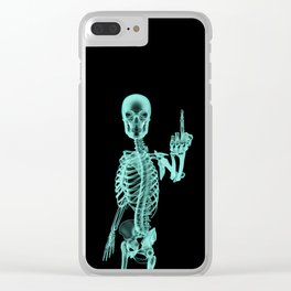 X-ray Bird / X-rayed skeleton demonstrating international hand gesture Clear iPhone Case