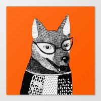 mr fox Canvas Prints featuring Mr. Fox by yellow pony