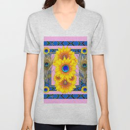PINK-BLUE PEACOCK SUNFLOWERS DECO JEWELED Unisex V-Neck