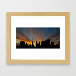 Skyline Sunset City Silhouette Framed Art Print