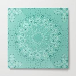 Round ornament turquoise color . mandala Metal Print