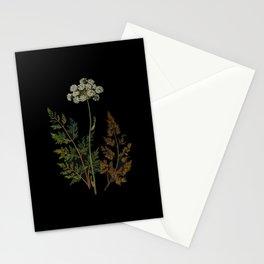 Selinum Palustre Mary Delany Delicate Paper Flower Collage Black Background Floral Botanical Stationery Cards