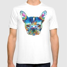 Colorful French Bulldog Dog Art By Sharon Cummings White Mens Fitted Tee MEDIUM