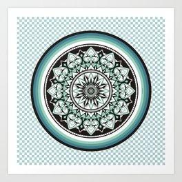 Mandala Design Sea Blue Aqua Theme Art Print