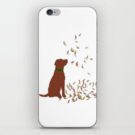 Brown Dog in Fall Leaves iPhone Skin