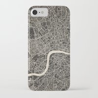 london map iPhone & iPod Cases featuring London map by NJ-Illustrations