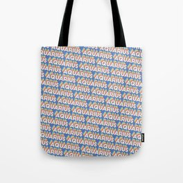 Aquarius Trendy Rainbow Text Pattern (Blue) Tote Bag